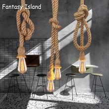 Lámparas colgantes de cuerda de cáñamo Vintage Retro Loft lámpara colgante Industrial para sala de estar cocina hogar luminarias decoración luminaria