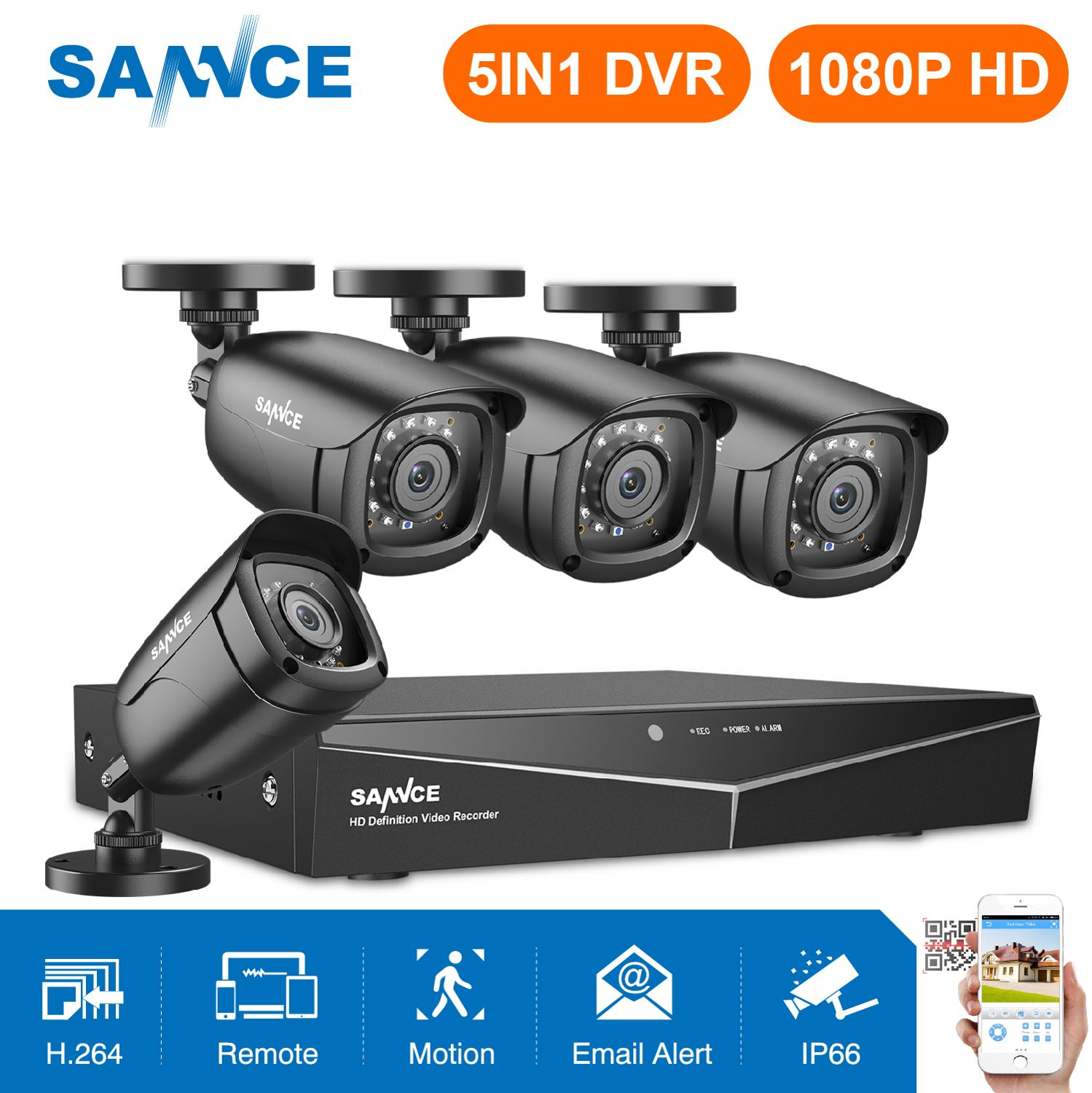 SANNCE 4CH HD 1080P Sistem CCTV 1080P HDMI Output CCTV DVR HD 2.0MP Kamera Keamanan IR malam Waterproof Surveillance kit