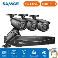 Mejor SANNCE 4CH HD 1080P CCTV sistema 1080P HDMI salida CCTV DVR HD 2.0MP cámaras de seguridad IR noche impermeable kit de vigilancia