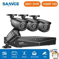 Mejor SANNCE 4CH HD 1080P HD CCTV sistema 1080P HDMI salida CCTV DVR HD 2.0MP cámaras de seguridad IR noche impermeable kit DE VIGILANCIA DE