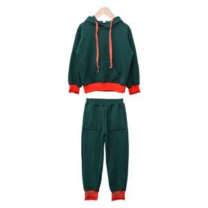 Image 5 - 幼児の女の子の服春子供服綿長袖パーカースウェット + パンツファッション十代の少女服 12Y