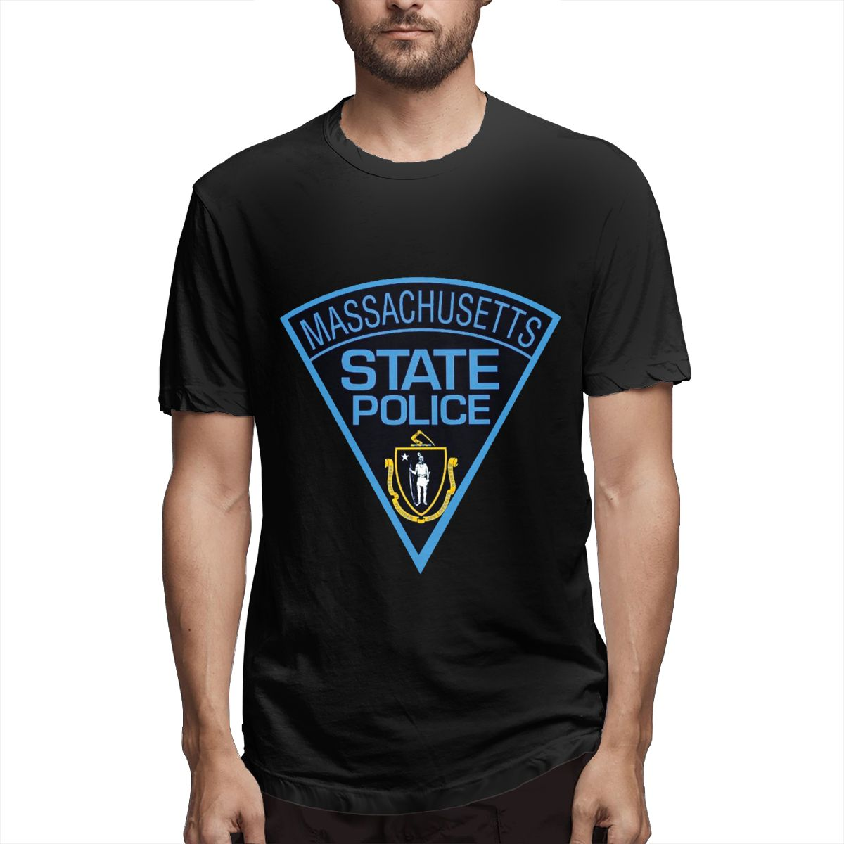 Print T Shirt <font><b>Massachusetts</b></font> State Police Women Men Funny Novelty T-shirt Short Sleeve Tops Unisex Outfit Clothing image