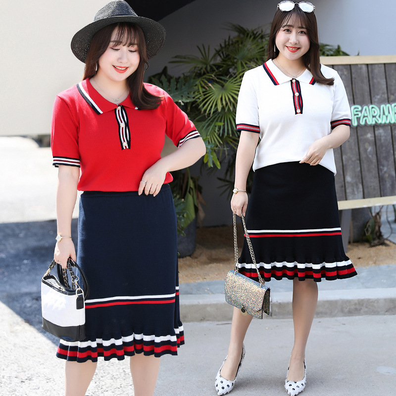 [Xuan Chen] Spring And Summer New Style Large Size Dress Fat Mm Slimming Knitting Suit Short Sleeve Two-Piece Set A Generation O