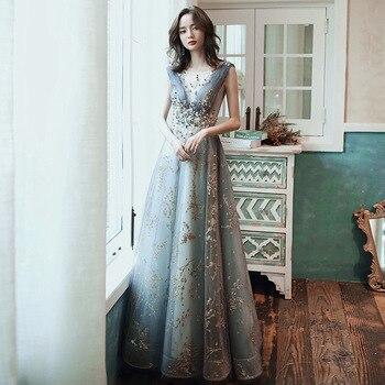 Fashion New Banquet Elegant Evening Dress Lace Appliques Sleeveless Floor-length Long Formal Gown Vestidos