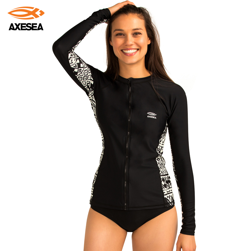 Women Rash Guard Surf Clothing Shirt Long Sleeve Swimwear UV Protection Swimsuit