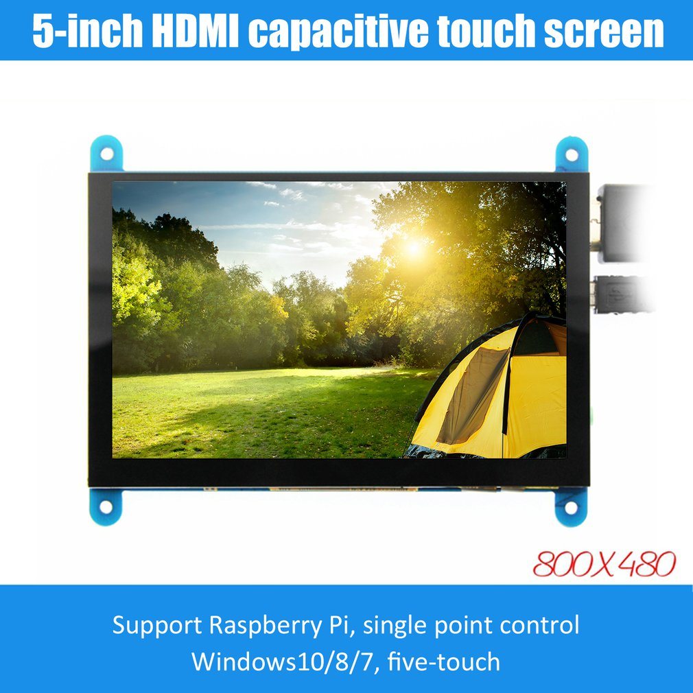 5-inch LCD Monitor HDMI 800X480 HD Touch Screen Capacitive Screen For Raspberry Pi 4 Model B 3B+/3B/2B/B+ Dropshipping