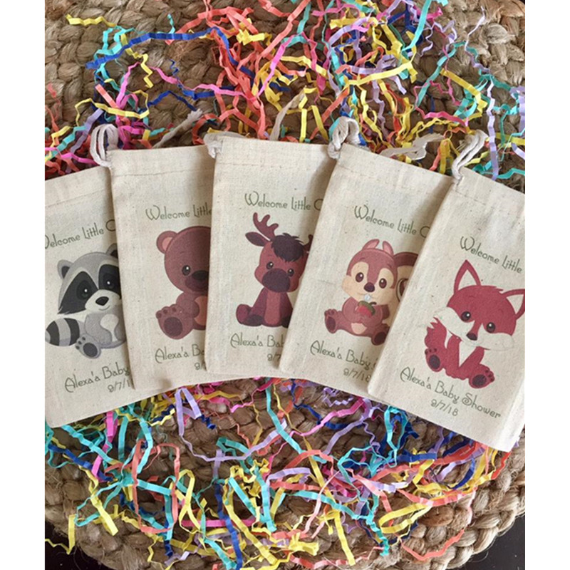 Woodland Theme Forest Animal Party Favor Bag Pesonalise Birthday Gift Bag Baby Shower Welcome Bags Baptism Cotton Drawstring Bag