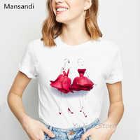 Illustration of flowers red rose skirt print t-shirt women clothes 2019 vogue t shirt femme harajuku shirt summmer tops tshirt