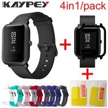 4in1 Weiche Silikon Sport Strap Für Xiaomi Huami Amazfit Bip Smart Uhr Bunte Armband Mit PC Fall Abdeckung Screen protector