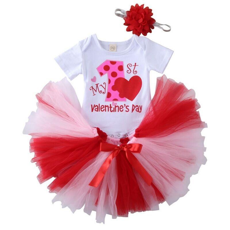 3PCS Baby Girls My First Valentine/'s Day Shirts Tutu Skirts Headband Outfits Set