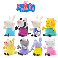 Peppapig19cm pink pig 8 friends family suit animal plush toy cute cartoon doll party children birthday gift
