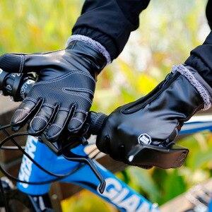 Image 2 - Зимние мужские и женские перчатки для велоспорта, кожаные перчатки с полным пальцем, водонепроницаемые, ветрозащитные, противоскользящие, сенсорный экран, лыжные, спортивные перчатки для спорта на открытом воздухе