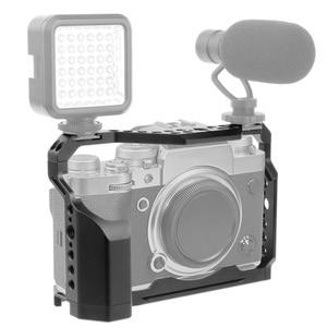 Image 3 - FEICHAO XT4 كاميرا قفص الألومنيوم الإطار واقية كامل قفص w/الباردة مقعد الحذاء جبل ل Mic فلاش ضوء ل فوجي فيلم فوجي X T4