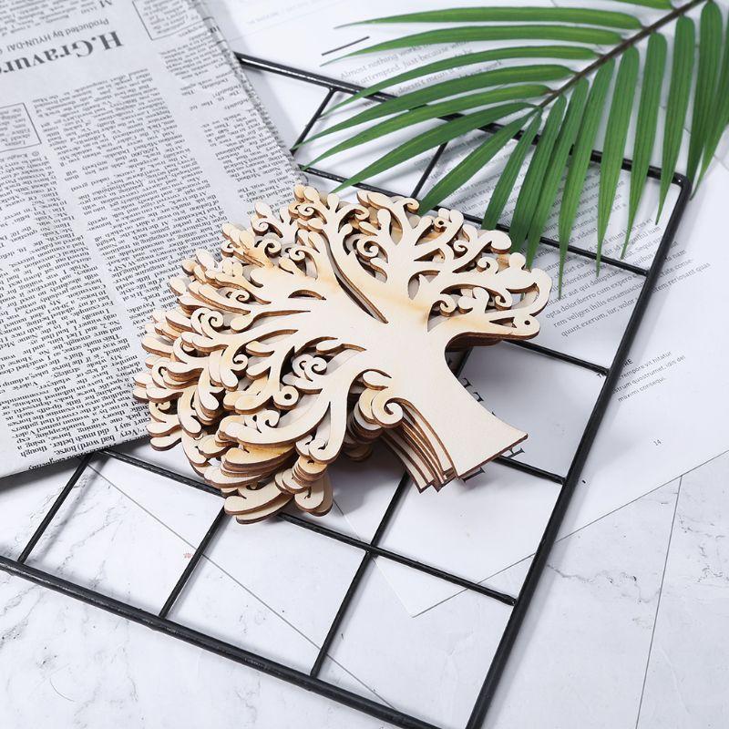 10pcs Laser Cut Wood Embellishment Wooden Tree Shape Craft Wedding Decor E65B