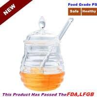 ¡Novedad de 245ML! Tarro transparente para miel, tarro para zumo, mermelada, tarro aromatizante, tarro para almacenar miel con botella, bote para miel con cuchara y tapa