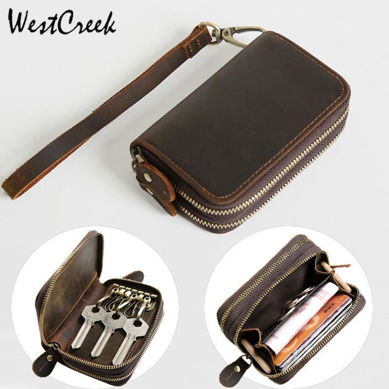 Genuine Leather Key Case Vintage Leather Car Key Wallets With 6 Key Holder Keys Organizer Housekeeper Pouch Men Large
