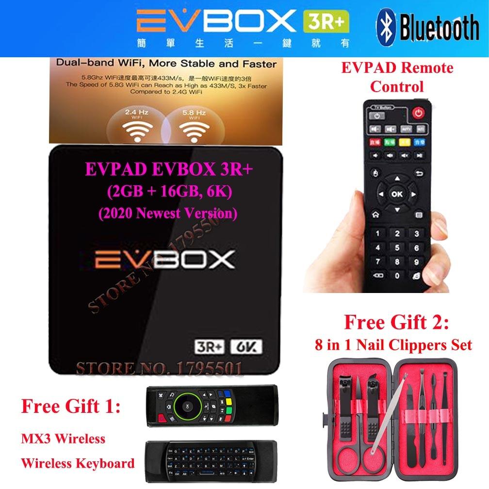 2020 IPTV EVPAD EVBOX 3R + 16GB 6K Android TV Box Spanien Korea JP SG HK Malaysia TW 1000 freies TV Live Kanäle + Drahtlose Tastatur