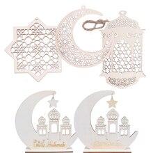 ไม้หัตถกรรมRamadan Eid Mubarakตกแต่งสำหรับHome Moonไม้แผ่นแขวนเครื่องประดับจี้อิสลามมุสลิมPARTY Supplies