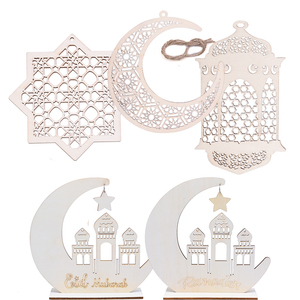 Image 1 - Wood Craft Ramadan Eid Mubarak Decorations for Home Moon Wooden Plaque Hanging Ornament Pendant Islam Muslim Party Supplies