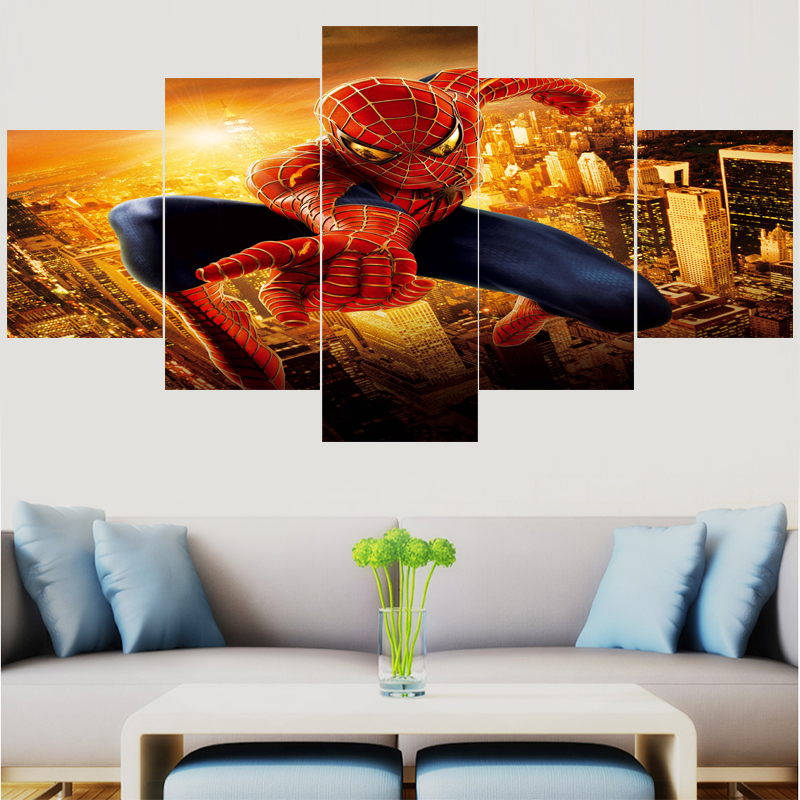 5 Pcs HD Wall Art America Movie Spiderman Pictures Home Decor Canvas Painting Calligraphy Living Room Movie Poster image