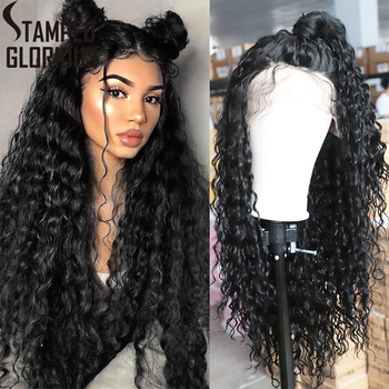 Stamped Glorious Long Black Curly Lace Wigs with Baby Hair for Women 13x4 Hair Synthetic Lace Front Wigs Heat Resistant Wig long synthetic african american wigs heat resistant synthetic lace front wig baby hair for black women lace wigs wholesale price