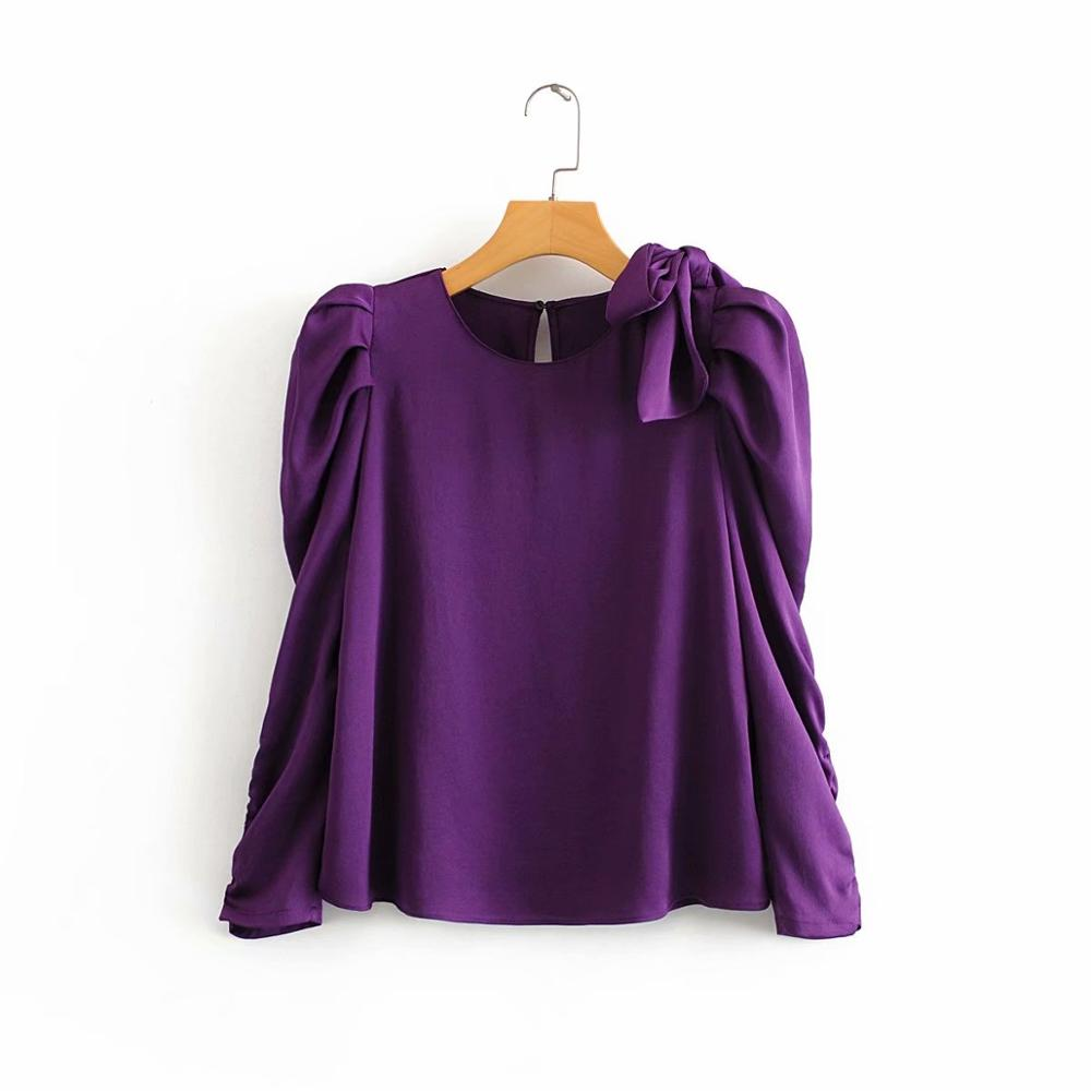 2020 Women Shoulder Bow Solid Color Casual Smock Blouse Office Lady Pleats Puff Sleeve Shirts Chic Chemise Femininas Tops LS6140