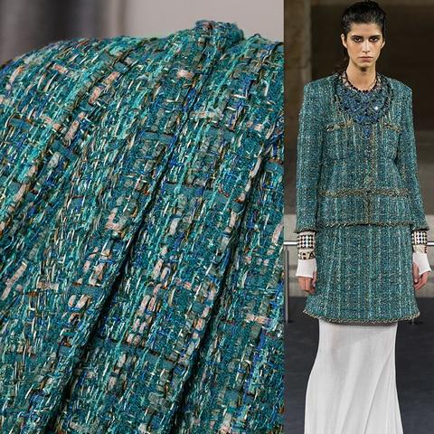 Materiais o Medidor de Pano o Pano França Verde Escuro Tweed Tecidos Outono Jaqueta Vestido Ternos Vestuário Costura Freeshipping