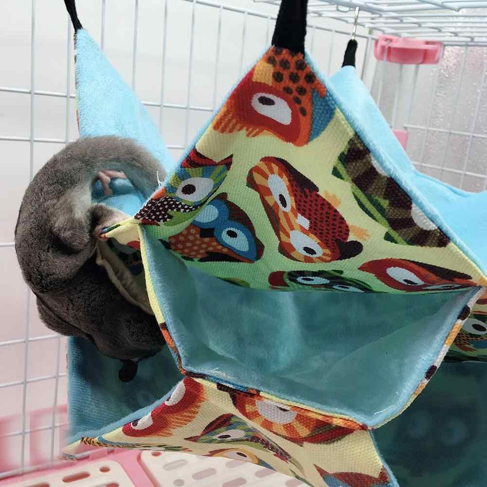Hamsters Esquilo Aves Gato Pequenos Animais de Estimação Bonito Três-camada de Rede Mezanino Pendurado Brinquedos de Hamster Gaiola Cama Quente Casa Balanço