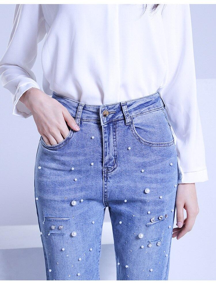 KSTUN FERZIGE ripped jeans for women slim fit light high waist blue thin hand beads elastic distressed cropped pants denim trousers 17