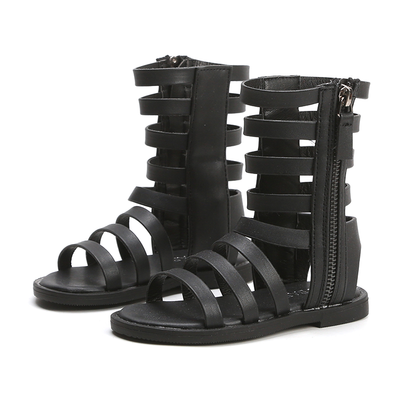 Summer New Girls Sandals Fashion Solid Color Cut-Outs Roman Shoes Baby Girl Shoes Princess Flat Mid-Top Sandals Black SMG070