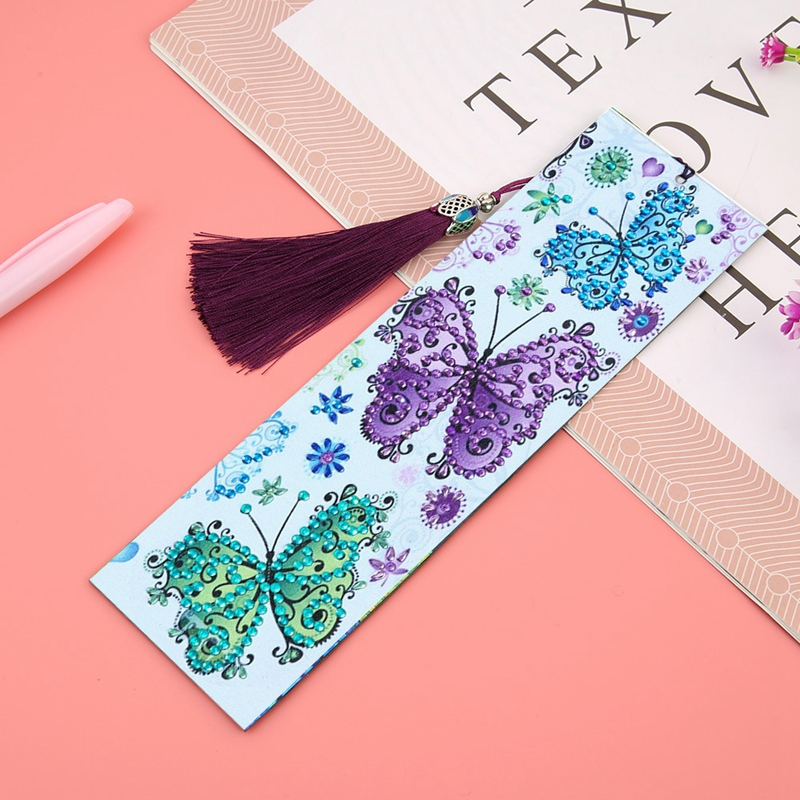 DIY Butterfly Pattern Resin Diamond Painting Leather Bookmark Diamond Embroidery Craft Tassel Book Bookmark
