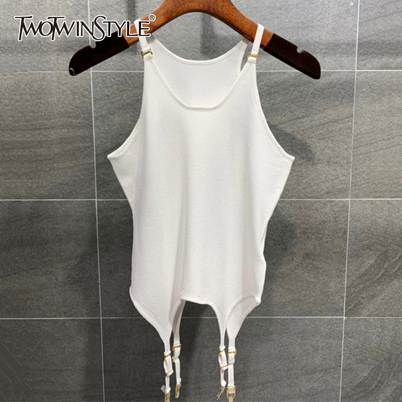 TWOTWINSTYLE Sexy Loose Women Vest O Neck Sleeveless Spaghetti Strap Irregular Hem Tank Tops For Female Fashion Clothes 2020 New