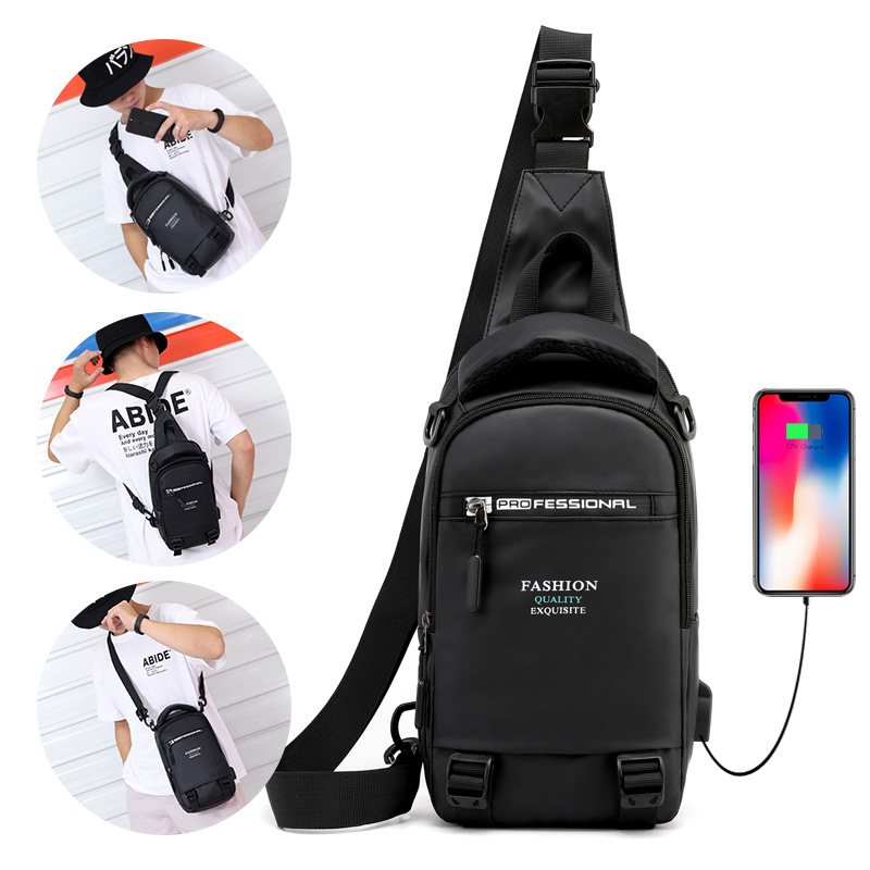 High Quality Male Nylon Knapsack Daypack Messenger Chest Bags With USB Charging Port Small Men Sling Backpack Rucksack Bag