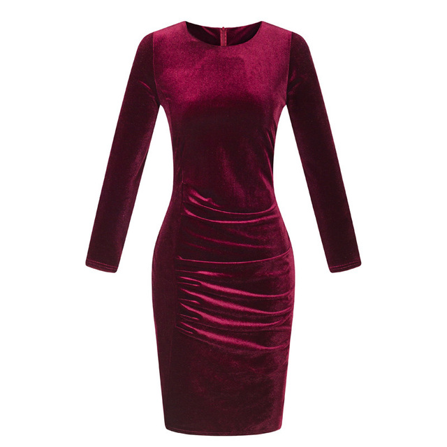 Womens Sexy Long Sleeve Velvet Ruched Bodycon Work Office Cocktail Party Dress