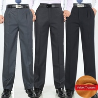 Straight Loose Double Pleated Fleece Winter Dress Pants Office Business Formal Trousers for Men Suit pants size