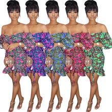 Mini robe à imprimé Floral pour femmes, manches longues, moulante, à bandes, soirée, boîte de nuit, rue, été, GL1350