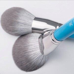 Image 2 - Juego de 13 pinceles azules de maquillaje, colorete en polvo grande, kit de maquillaje para esculpir sombras de ojos, resaltador de manchas, brocha para cejas y labios