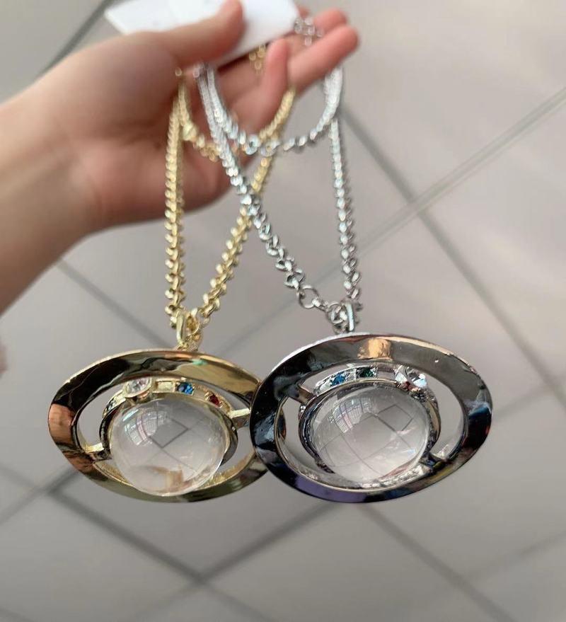 Colar de cristal saturno para mulheres jóias de casamento ins estilo de luxo camisola corrente para meninas moda jóias|Colares c/ pingente|   -