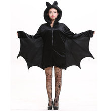 Umorden Halloween Purim Carnival Party Woman Black Bat Vampire Costumes for Women Fantasia Cozy Cosplay Costume Furry Hood