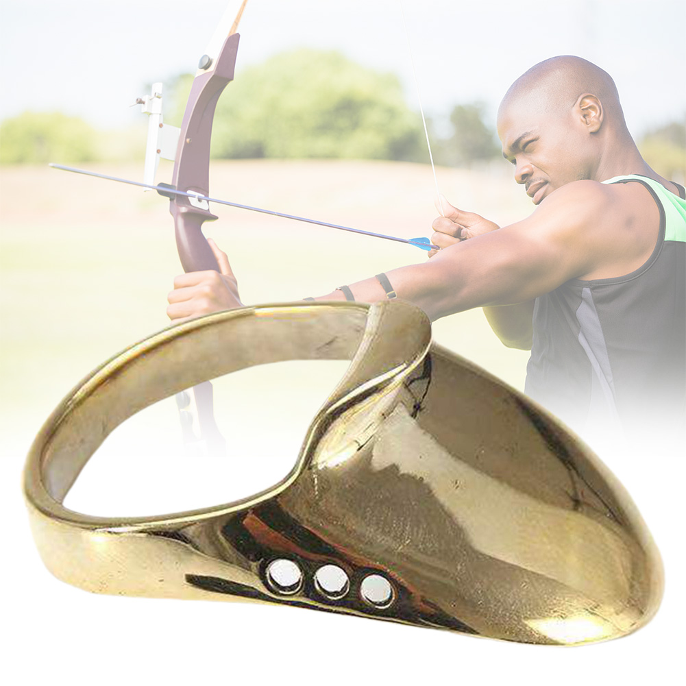 Sport Traditional Wrist Brass Finger Protector Hunting Catapult Safe Accessories Bow Archery Thumb Ring Practice Painless