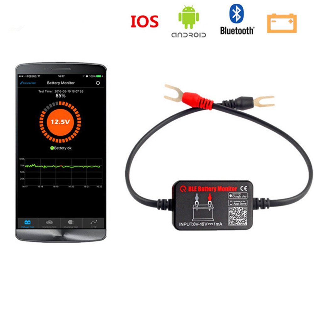 Car Battery Tester Bluetooth Wireless Automotive 12V Auto Battery Load Tester Charging System Diagnostic Analyzer Monitor