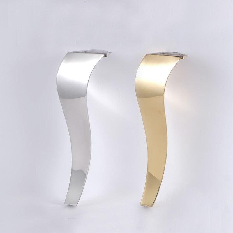 4Pcs Stainless Steel 20CM Shiny European Gold Furniture Bath Tea Coffee Stool Bar Sofa Chair Leg S Type