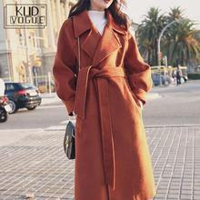 Plus Size Loose Warm Wool Blends Long Winter Coat Turn-down