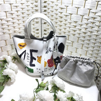 New Arrival Genuine Leather Women's Top Handle bag Fashion Graffiti Pattern Luxy Bucket Composite Bag Shoulder Crossbody Bag