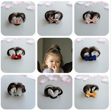 1PC Lovely Newborn Baby Wigs Hairpin Cute Infant Bowknot Pole Hair Clip Kids Headwear Accessores Photograph for short hair Sweet