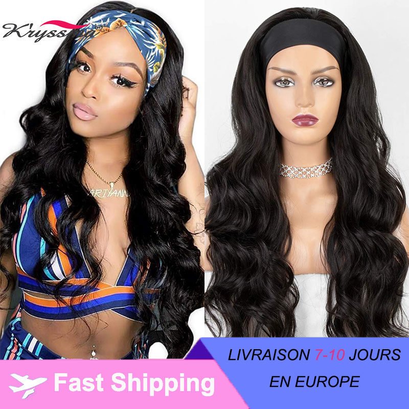 kryssma Long Wavy Headband Wig for Black Women None Replacement Body Wave Synthetic Headwraps Hair Wig 2020 New Fashion
