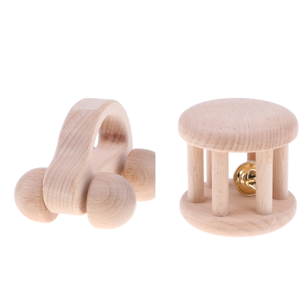 3 Pieces Wooden Baby Rattles Montessori Crib Toy Toddler Baby Boy Girl Gift