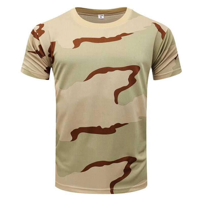 Outdoor Sports męskie koszulki kamuflaż Multicam Quick Dry O Neck koszulka z krótkim rękawem topy Plus rozmiar M-3XL T-Shirt akcesoria