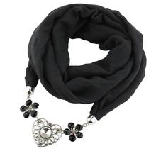 Jzhifiyer scarf women alloy foulard love pendant jewelry necklace hijab feminino spring new europaen scarfs ring stole