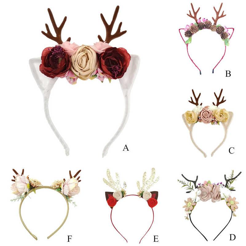 Venta caliente diadema de Navidad TELA ESCOCESA antler banda superior cierre cabeza aro fiesta diadema regalo de Navidad 1111
